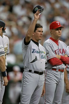 7 Jul 1998:  American League member Rolando Arrojo #30 of the Tampa Bay Devil Rays acknowledges the fans during the All-Star Game at Coors Field in Denver, Colorado. The American League defeated the National League 13-8. Mandatory Credit: Jed Jacobsohn  /