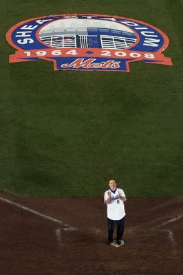 FLUSHING, NY - SEPTEMBER 28:  Former New York Mets player Gary Carter stands at home plate during post game ceremonies after playing the Florida Marlins in the last regular season baseball game ever played in Shea Stadium on September 28, 2008 in the Flus