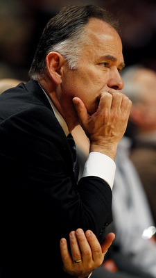 CHICAGO - FEBRUARY 24: Head coach Jim O'Brien of the Indiana Pacers watches as his team takes on the Chicago Bulls at the United Center on February 24, 2010 in Chicago, Illinois. The Bulls defeated the Pacers 120-110. NOTE TO USER: User expressly acknowle
