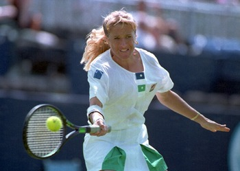 13 JUN 1994:  TRACY AUSTIN OF THE USA PLAYS A FOREHAND DURING HER DEFEAT BY KRISTINE RADFORD OF AUSTRALIA IN THE FIRST ROUND OF THE VOLKSWAGEN CUP IN EASTBOURNE, ENGLAND. Mandatory Credit: Gary Prior/ALLSPORT