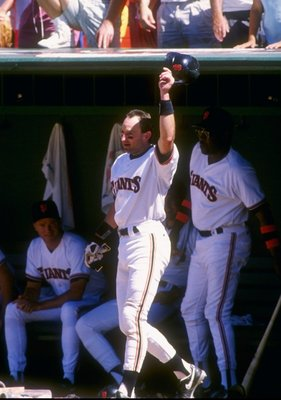 24 Jun 1993:  Second baseman Robby Thompson of the San Francisco Giants stands at dugout and raises his hat in the air during a game against the Colorado Rockies at Candlestick Park in San Francisco, California. Mandatory Credit: Otto Greule  /Allsport