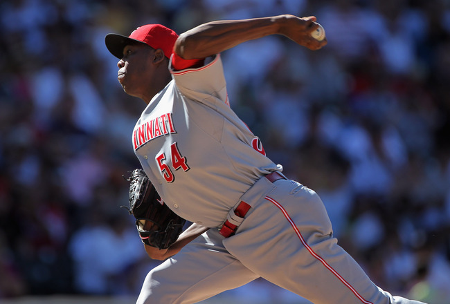 DENVER - SEPTEMBER 06:  Relief pitcher Aroldis Chapman #54 of the Cincinnati Reds delivers against the Colorado Rockies at Coors Field on September 6, 2010 in Denver, Colorado. The Rockies defeated the Reds 10-5.  (Photo by Doug Pensinger/Getty Images)