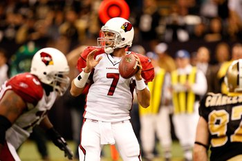NEW ORLEANS - JANUARY 16:  Quarterback Matt Leinart #7 of the Arizona Cardinals throws a pass against the New Orleans Saints during the NFC Divisional Playoff Game at Louisana Superdome on January 16, 2010 in New Orleans, Louisiana. The Saints won 45-14.