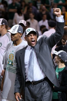BOSTON - MAY 28:  Head coach Doc Rivers of the Boston Celtics celebrates after the Celtics won 96-84 against the Orlando Magic in Game Six of the Eastern Conference Finals during the 2010 NBA Playoffs at TD Garden on May 28, 2010 in Boston, Massachusetts.