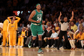LOS ANGELES, CA - JUNE 17:  Paul Pierce #34 of the Boston Celtics runs up court after making a three-point shot against the Los Angeles Lakers in Game Seven of the 2010 NBA Finals at Staples Center on June 17, 2010 in Los Angeles, California.  NOTE TO USE