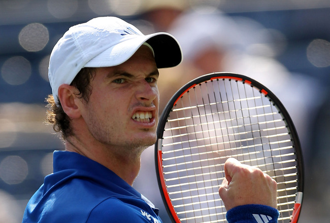 NEW YORK - SEPTEMBER 01:  Andy Murray of Great Britain reacts after defeating Lukas Lacko of Slovakia during his men's singles first round match on day three of the 2010 U.S. Open at the USTA Billie Jean King National Tennis Center on September 1, 2010 in