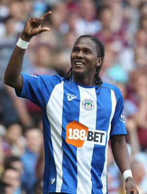 LONDON, ENGLAND - APRIL 24:  Hugo Rodallega of Wigan celebrates after scoring during the Barclays Premier League match between West Ham United and Wigan Athletic at the Boleyn Ground on April 24, 2010 in London, England.  (Photo by Phil Cole/Getty Images)
