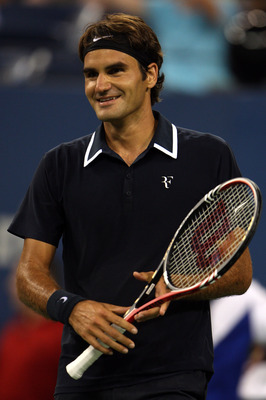 NEW YORK - AUGUST 30:  Roger Federer of Switzerland reacts after a point against Brian Dabul of Argentina during the Men's Singles first round match on day one of the 2010 U.S. Open at the USTA Billie Jean King National Tennis Center on August 30, 2010 in
