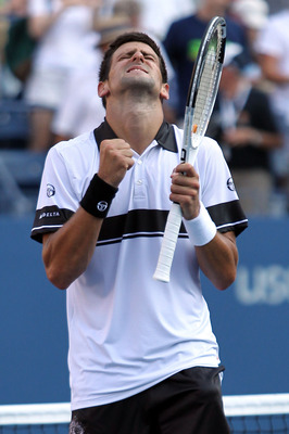 NEW YORK - AUGUST 31:  Novak Djokovic of Serbia celebrates after defeating Viktor Troicki of Serbia in his first round men's single's match on day two of the 2010 U.S. Open at the USTA Billie Jean King National Tennis Center on August 31, 2010 in the Flus