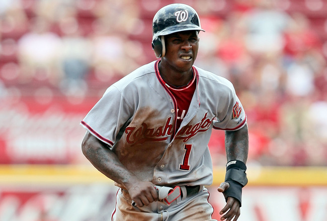 CINCINNATI - JULY 22:  Nyjer Morgan #1 of the Washington Nationals runs to third base during the game against the Cincinnati Reds at Great American Ball Park on July 22, 2010 in Cincinnati, Ohio.  (Photo by Andy Lyons/Getty Images)