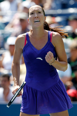 NEW YORK - AUGUST 31:  Jelena Jankovic of Serbia reacts after defeating Simona Halep of Romania during her first round women's single match on day two of the 2010 U.S. Open at the USTA Billie Jean King National Tennis Center on August 31, 2010 in the Flus