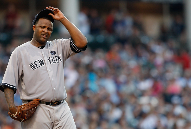 CLEVELAND - JULY 27:  CC Sabathia #52 of the New York Yankees takes a moment inbetween pitches during the game against the Cleveland Indians on July 27, 2010 at Progressive Field in Cleveland, Ohio.  (Photo by Jared Wickerham/Getty Images)