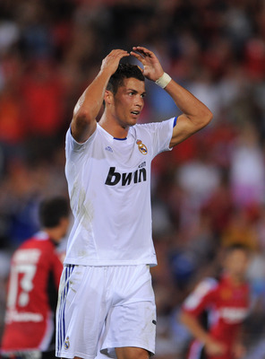 PALMA DE MALLORCA, SPAIN - AUGUST 29:  Cristiano Ronaldo of Real Madrid reacts as he fails to score during the La Liga match between Mallorca and Real Madrid at the ONO Estadio on August 29, 2010 in Palma de Mallorca, Spain. The match ended in a 0-0 draw.