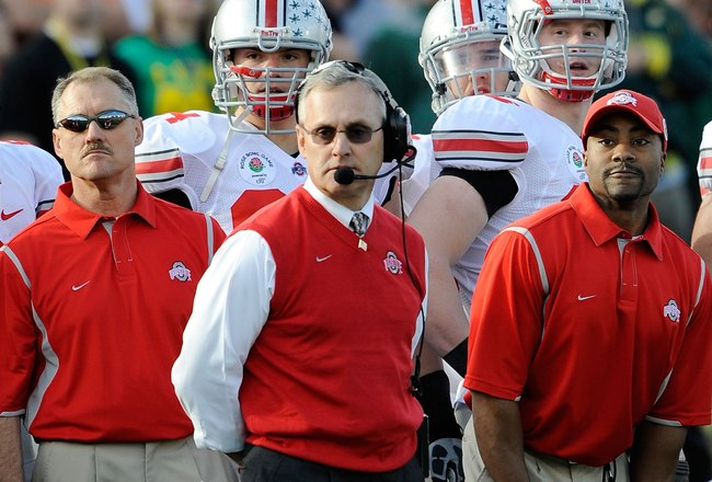 PASADENA, CA - JANUARY 01:  Head coach Jim Tressel of the Ohio State Buckeyes is seen during the 96th Rose Bowl game against the Oregon Ducks on January 1, 2010 in Pasadena, California.  (Photo by Kevork Djansezian/Getty Images)