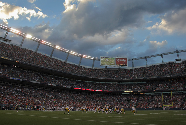 DENVER - AUGUST 29:  A general view of the stadium prior to sunset as the Pittsburgh Steelers face the Denver Broncos during preseason NFL action at INVESCO Field at Mile High on August 29, 2010 in Denver, Colorado. The Broncos defeated the Steelers 34-17