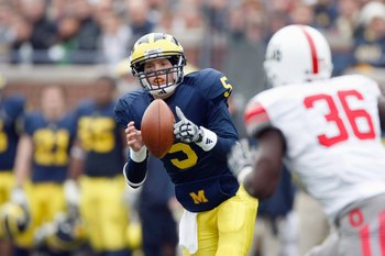 ANN ARBOR, MI - NOVEMBER 21:  Quarterback Tate Forcier #5 of the Michigan Wolverines looks to pass the ball during the game against the Ohio State Buckeyes on November 21, 2009 at Michigan Stadium in Ann Arbor, Michigan. Ohio State won the game 21-10. (Ph