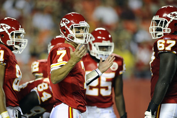 KANSAS CITY, MO - AUGUST 27: Matt Cassel #7 of the Kansas City Chiefs looks to the sidelines during a preseason game against the Philadelphia Eagles at Arrowhead Stadium on August 27, 2010 in Kansas City, Missouri.  (Photo by G. Newman Lowrance/Getty Imag