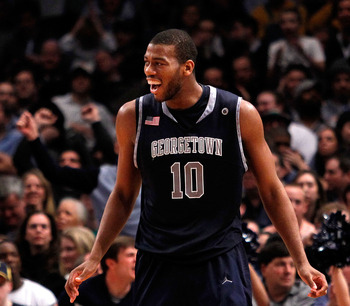NEW YORK - MARCH 12:  Greg Monroe #10 of the Georgetown Hoyas reacts after a play late in the game against the Marquette Golden Eagles during the semifinal of the 2010 Big East Tournament at Madison Square Garden on March 12, 2010 in New York City.  (Phot
