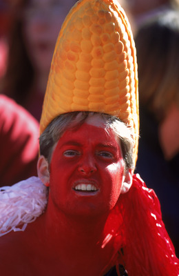27 Oct 2001:  An Nebraska Cornhuskers fan wears a corn hat during the game against the Oklahoma Sooners  at Memorial Sadium in Lincoln, Nebraska. The Cornhuskers defeated the Sooners 20-10.Mandatory Credit: Scott Halleran/ Allsport