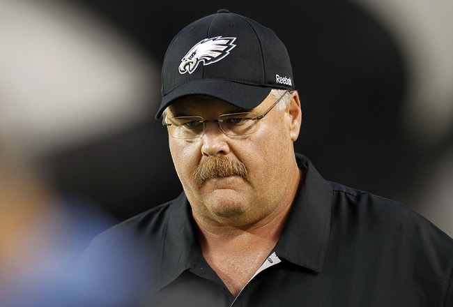 PHILADELPHIA - SEPTEMBER 02:  Head coach Andy Reid of the Philadelphia Eagles stands on the sidelines during a preseason game against the New York Jets at Lincoln Financial Field on September 2, 2010 in Philadelphia, Pennsylvania.  (Photo by Jeff Zelevans