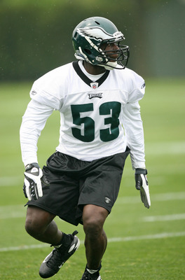 PHILADELPHIA - MAY 1: Linebacker Moise Fokou #53 of the Philadelphia Eagles practices during minicamp at the NovaCare Complex on May 1, 2009 in Philadelphia, Pennsylvania. (Photo by Hunter Martin/Getty Images)