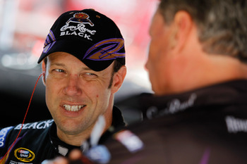 BRISTOL, TN - AUGUST 20: Matt Kenseth (L), driver of the #17 Crown Royal Ford, talks with his crew chief Jimmy Fennig prior to practice for the NASCAR Sprint Cup Series IRWIN Tools Night Race at Bristol Motor Speedway on August 20, 2010 in Bristol, Tennes