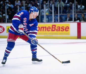 7 Mar 1997:  Defenseman Brian Leetch of the New York Rangers moves down the ice during a game against the Anaheim Mighty Ducks at Arrowhead Pond in Anaheim, California.  The Ducks won the game, 5-2. Mandatory Credit: Elsa Hasch  /Allsport
