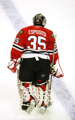 CHICAGO - MARCH 19: Goaltender Nikolai Khabibulin of the Chicago Blackhawks wears a jersey honoring former Blackhawk goaltender Tony Esposito during warm-ups before a game against the Washington Capitals on March 19, 2008 at the United Center in Chicago,