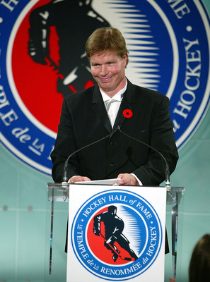 TORONTO - NOVEMBER 8:  Larry Murphy gives a speech during the Hockey Hall of Fame Induction Ceremony on November 8, 2004 at the Hockey Hall of Fame in Toronto, Ontario.  (Photo by Dave Sandford/Hockey Hall of Fame via Getty Images)