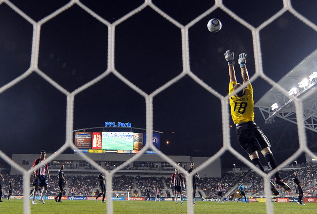 CHESTER, PA - SEPTEMBER 01:  Brad Knighton #18 of the Philadelphia Union makes a save during the game against Chivas de Guadalajara at PPL Park on September 1, 2010 in Chester, Pennsylvania. The Union won 1-0. (Photo by Drew Hallowell/Getty Images)