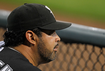 CHICAGO - JULY 07: Manager Ozzie Guillen #13 of the Chicago White Sox watches as his team takes on  the Los Angeles Angels of Anaheim at U.S. Cellular Field on July 7, 2010 in Chicago, Illinois. (Photo by Jonathan Daniel/Getty Images)