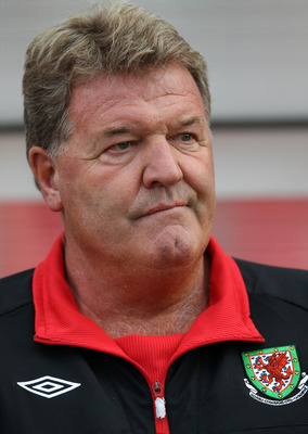 LLANELLI, WALES - AUGUST 11:  Wales Manager John Toshack looks on prior to the International Friendly between Wales and Luxembourg at Parc y Scarlets on August 11, 2010 in Llanelli, Wales.  (Photo by Bryn Lennon/Getty Images)