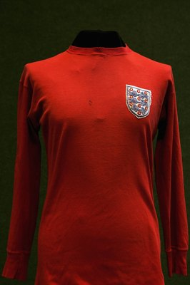 LONDON - MAY 16:  A 1966 World cup football shirt worn by George Cohen during the final at Wembley is displayed at Christies Auctioneers before its sale on May 16, 2006 in London, England.  (Photo by Bruno Vincent/Getty Images)