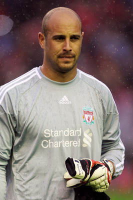 LIVERPOOL, ENGLAND - AUGUST 19:  Pepe Reina of Liverpool looks on prior to the UEFA Europa League play-off first leg match beteween Liverpool and Trabzonspor at Anfield on August 19, 2010 in Liverpool, England.  (Photo by Alex Livesey/Getty Images)