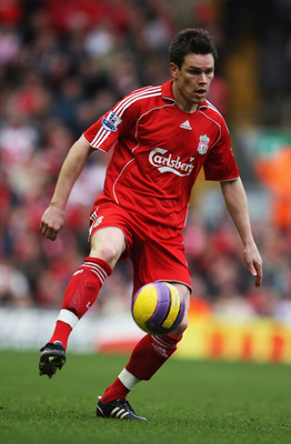 LIVERPOOL, UNITED KINGDOM - FEBRUARY 23:  Steve Finnan  of Liverpool in action during the Barclays Premier League match between Liverpool and Middlesbrough at Anfield on February 23, 2008 in Liverpool, England.  (Photo by Gary M. Prior/Getty Images)
