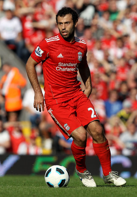 LIVERPOOL, ENGLAND - AUGUST 15:   Javier Mascherano of Liverpool in action during the Barclays Premier League match between Liverpool and Arsenal at Anfield on August 15, 2010 in Liverpool, England.  (Photo by Clive Brunskill/Getty Images)
