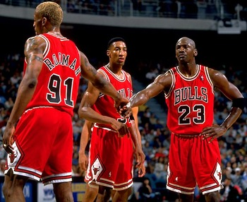 Michael Jordan, Scottie Pippen, and Dennis Rodman