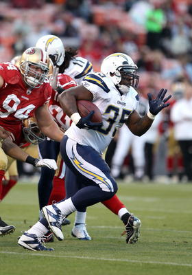 SAN FRANCISCO - SEPTEMBER 02:  Mike Tolbert #35 of the San Diego Chargers runs with the ball during their game against the San Francisco 49ers at Candlestick Park  on September 2, 2010 in San Francisco, California.  (Photo by Ezra Shaw/Getty Images)
