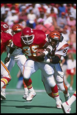 1 Oct 1989:  Running back Christian Okoye of the Kansas City Chiefs runs with the ball during a game against the Cincinnati Bengals at Arrowhead Stadium in Kansas City, Missouri.  The Bengals won the game, 21-17. Mandatory Credit: Jonathan Daniel  /Allspo
