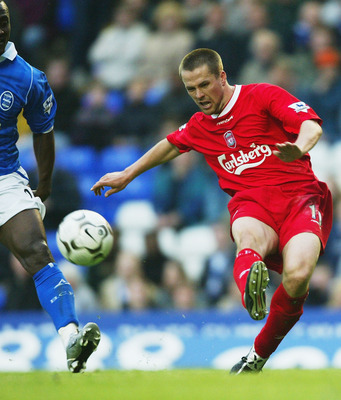 BIRMINGHAM, ENGLAND - MAY 8:  Liverpool striker Michael Owen powers in a shot during the FA Barclaycard Premiership match between Birmingham City and Liverpool at St. Andrews, on May 8, 2004 in Birmingham, England.  (Photo by Stu Forster/Getty Images)