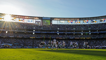 SAN DIEGO - AUGUST 21:  The Dallas Cowboys in action against the San Diego Chargers during the pre-season NFL football game  at Qualcomm Stadium on August 21, 2010 in San Diego, California.  (Photo by Kevork Djansezian/Getty Images)