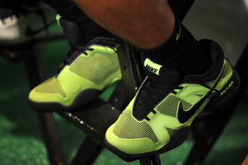 NEW YORK - AUGUST 25:  A general view of tennis player Rafael Nadal's Nike sneakers at the Nike Tennis Primetime Knockout event at Pier 54 on August 25, 2010 in New York City.  (Photo by Bryan Bedder/Getty Images)