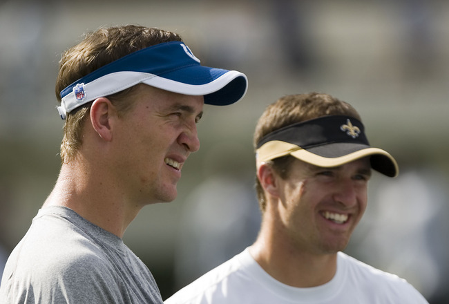 JACKSON, MS - AUGUST 26:  Quarterbacks Peyton Manning of the Indianapolis Colts and Drew Brees of the New Orleans Saints share a laugh before the game on August 26, 2006 at Veterans Memorial Stadium in Jackson, Mississippi.  The Colts won 27-14.    (Photo