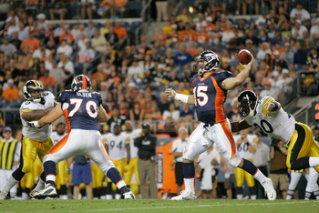 DENVER - AUGUST 29:  Quarterback Tim Tebow #15 of the Denver Broncos makes a pass against the Pittsburgh Steelers and avoids a sack by linebacker Thaddeus Gibson #90 at INVESCO Field at Mile High on August 29, 2010 in Denver, Colorado.  (Photo by Justin E