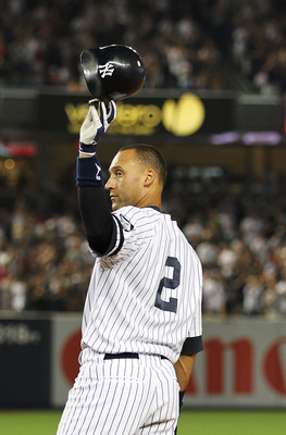 NEW YORK - AUGUST 08:  Derek Jeter #2 of the New York Yankees surpasses Babe Ruth in all time hits with 2874 against  the Boston Red Sox in the second inning against the Boston Red Sox on August 8, 2010 at Yankee Stadium in the Bronx borough of New York C
