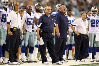 The Dallas sideline during their last preseason game against the Miami Dolphins