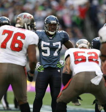 SEATTLE - DECEMBER 20:  David Hawthorne #57 of the Seattle Seahawks looks on during their game against the Tampa Bay Buccaneers on December 20, 2009 at Qwest Field in Seattle, Washington. The Buccaneers defeated the Seahawks 24-7. (Photo by Otto Greule Jr
