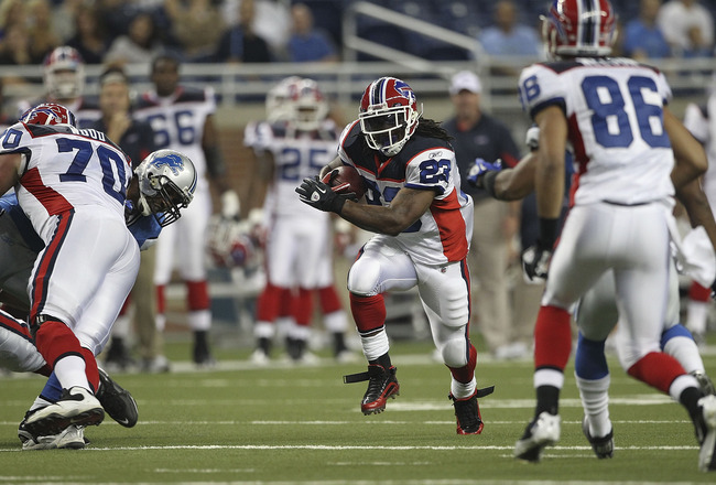 DETROIT - SEPTEMBER 02: Marshawn Lynch #23 of the Buffalo Bills runs for a short gain during the second quarter of the preseason game against the Detroit Lions at Ford Field on September 2, 2010 in Detroit, Michigan.  (Photo by Leon Halip/Getty Images)
