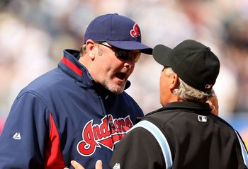 NEW YORK - APRIL 19:  Cleveland Indians manager Eric Wedge argues with the umpire about a Jorge Posada #20 of the New York Yankees pinch hit two-run home run in the seventh inning of their game against the Cleveland Indians at Yankee Stadium on April 19,