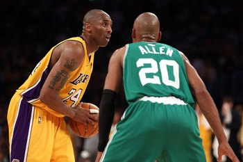 LOS ANGELES, CA - JUNE 17:  Kobe Bryant #24 of the Los Angeles Lakers looks to drive on Ray Allen #20 of the Boston Celtics in Game Seven of the 2010 NBA Finals at Staples Center on June 17, 2010 in Los Angeles, California.  NOTE TO USER: User expressly a